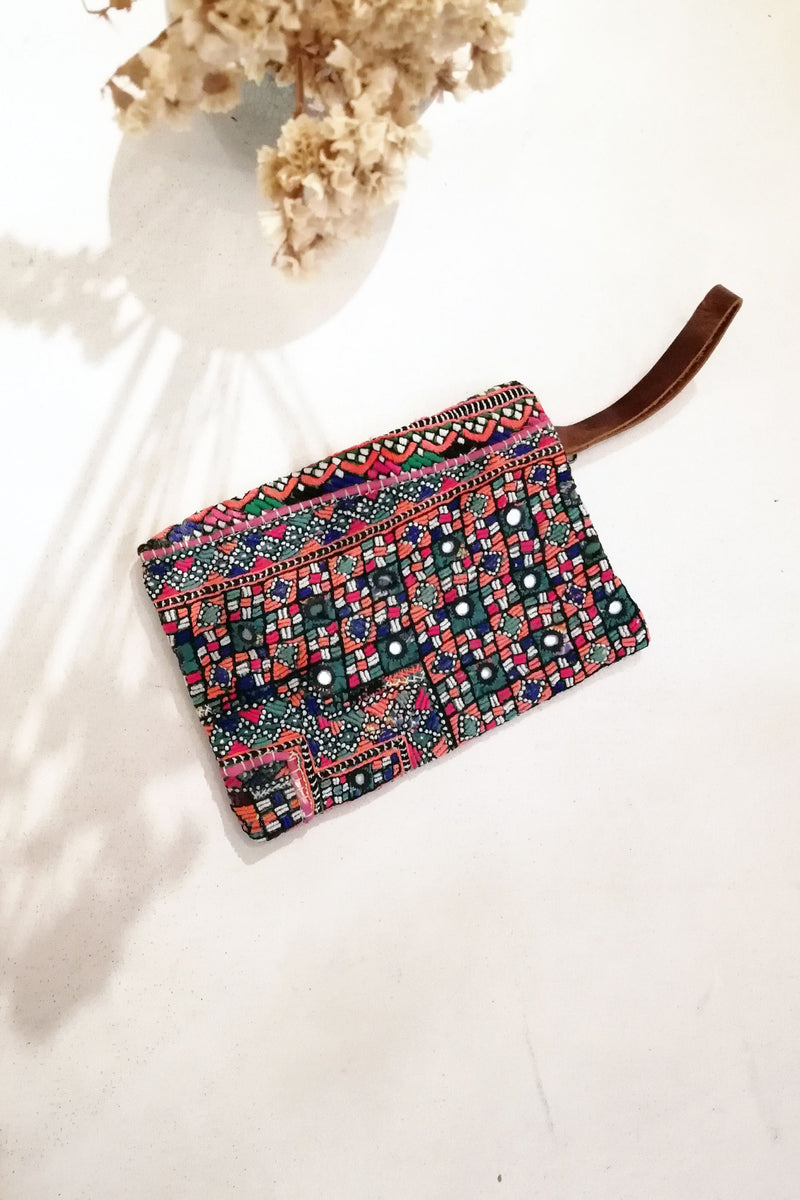Vintage Embroidery and Brown Leather Clutch