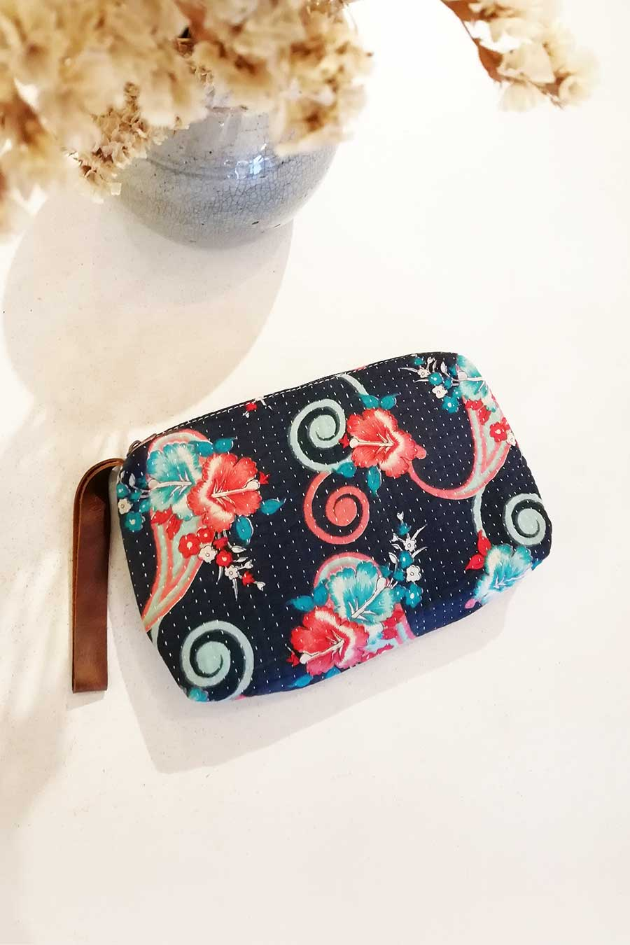 Floral Boho Clutch Bag with Zipper