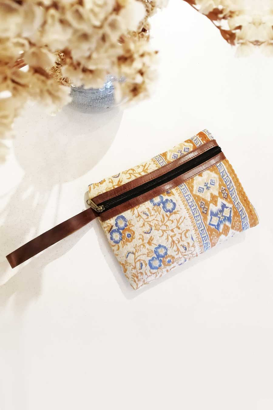 Floral Clutch Bag with Leather Strap