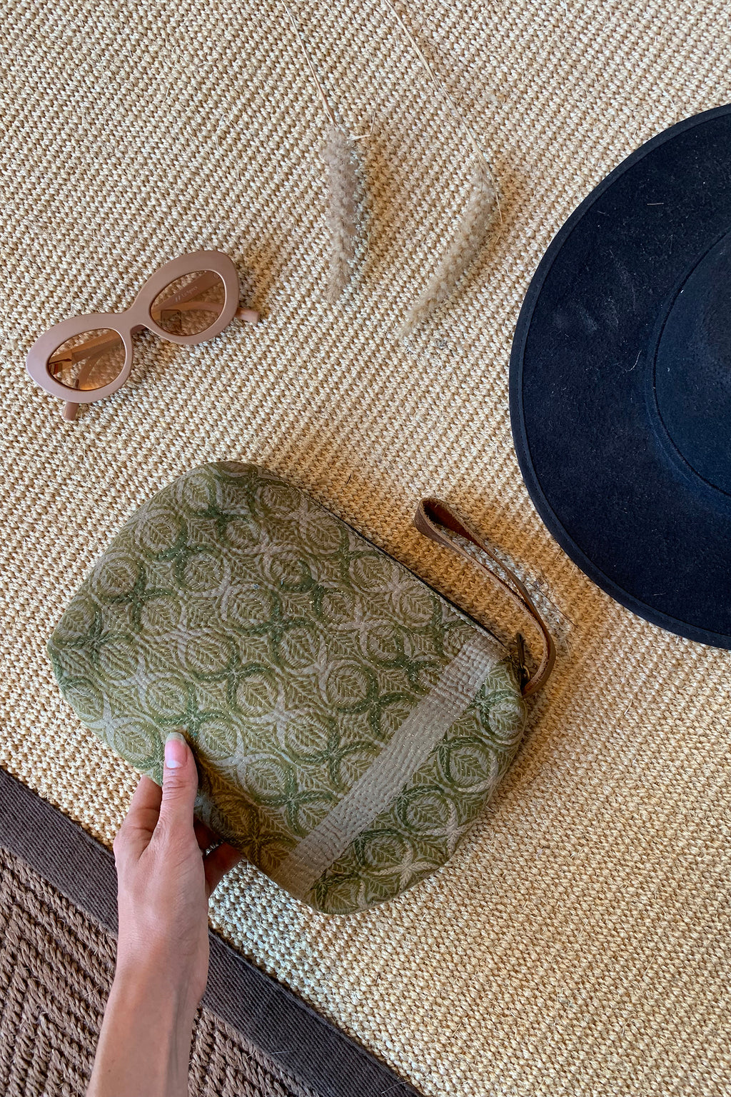 Green Vintage Fabric Makeup Bag