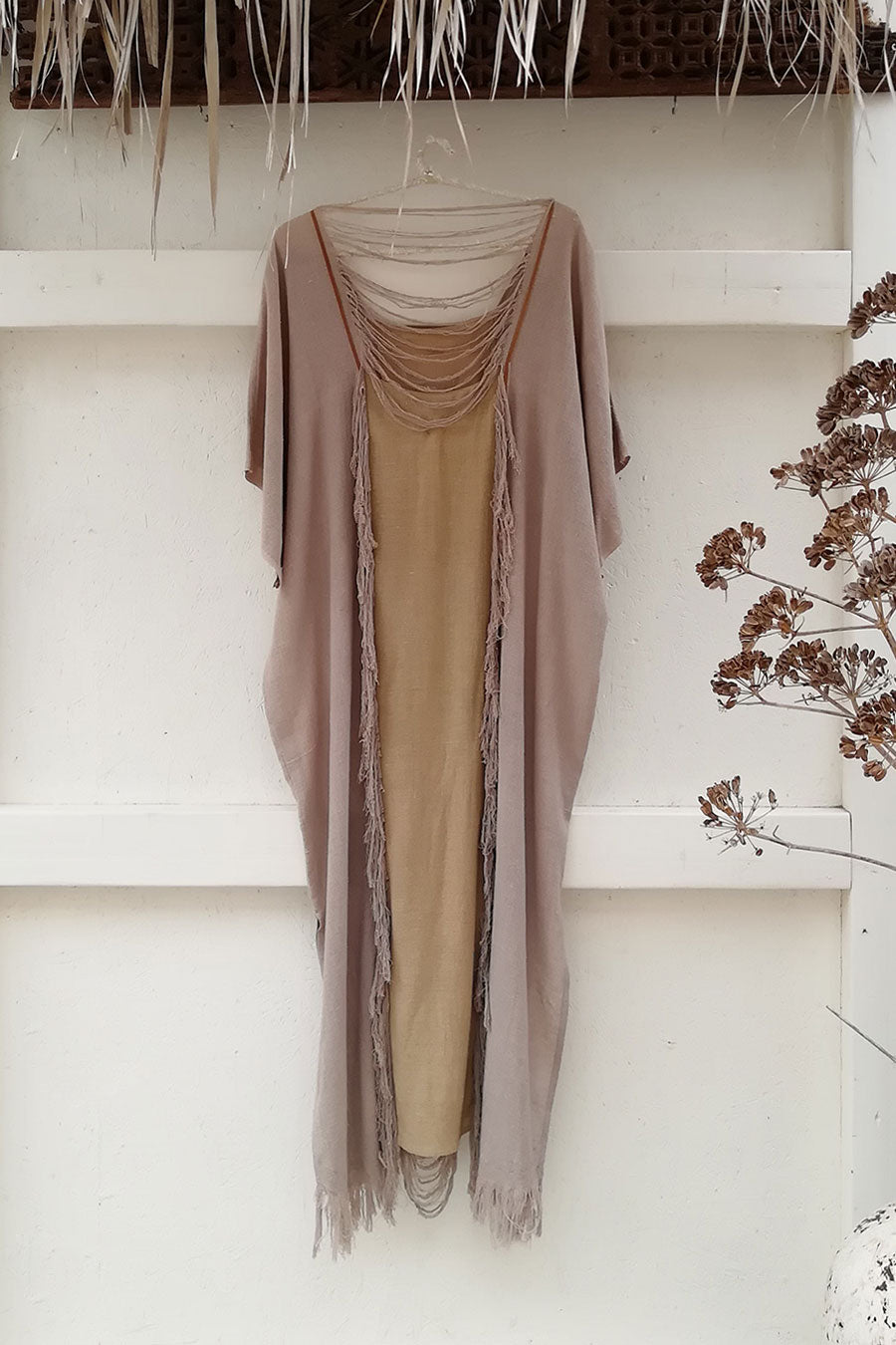 Bohemian Raw Silk Grey Kaftan Dress