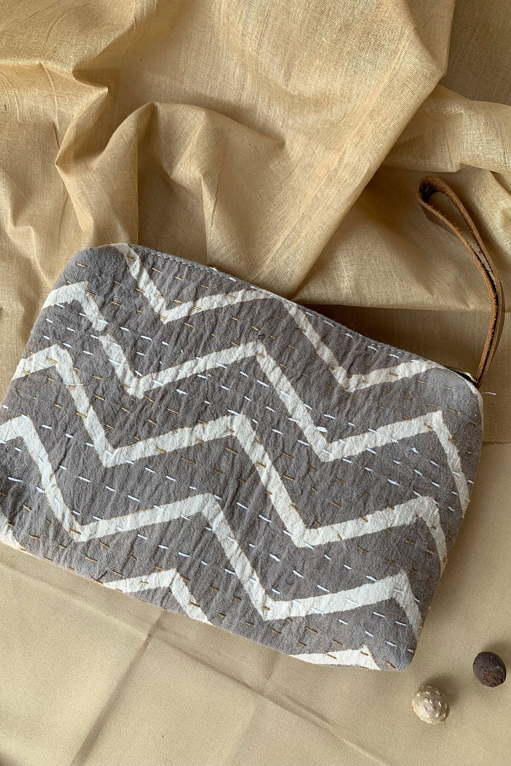 Boho Grey and White Block Print Clutch