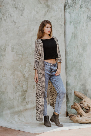 Long Boho Block Print Jacket
