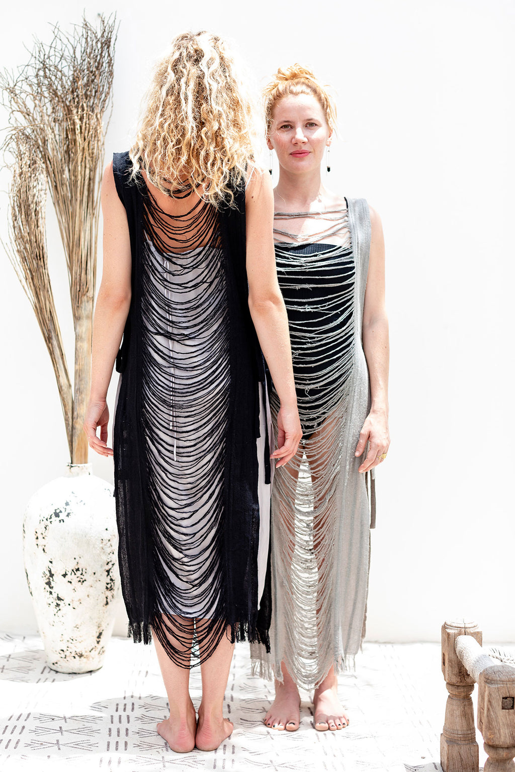 Black Raw Silk Shredded Beach Dress