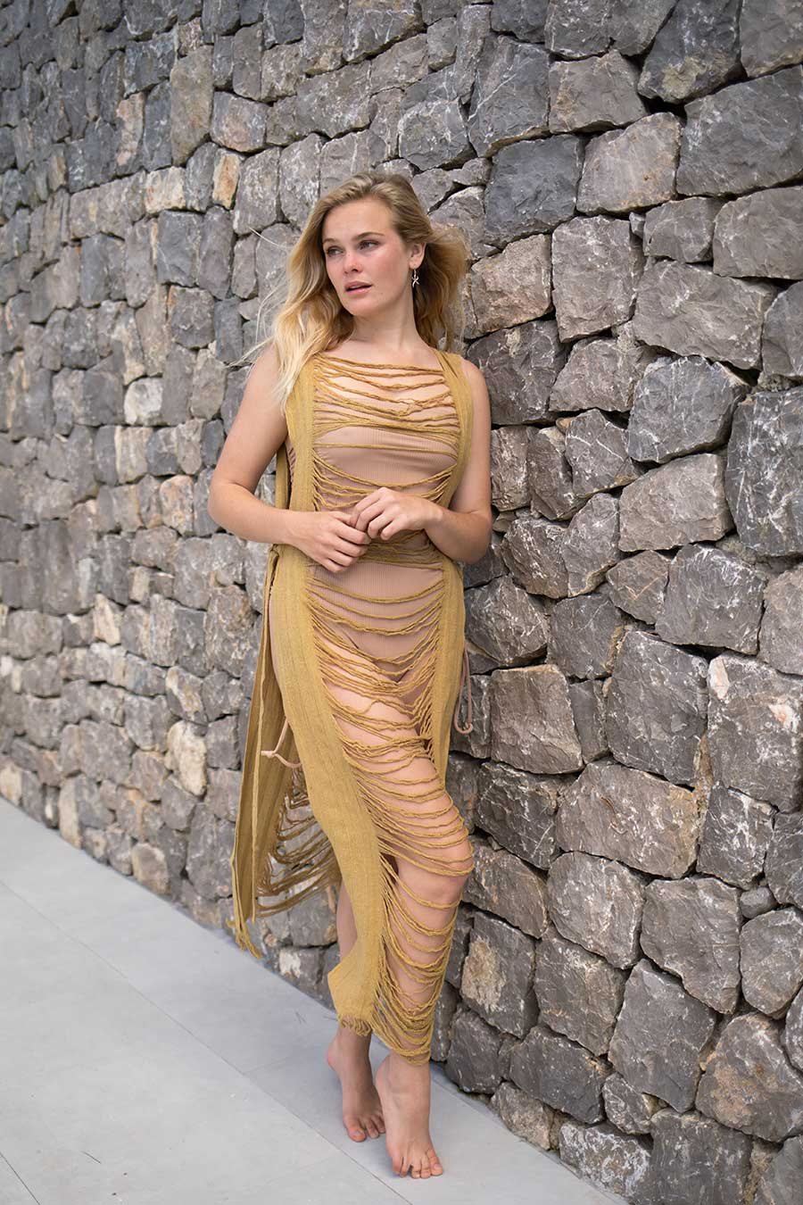 Huya Raw Silk Shredded Vest Dress