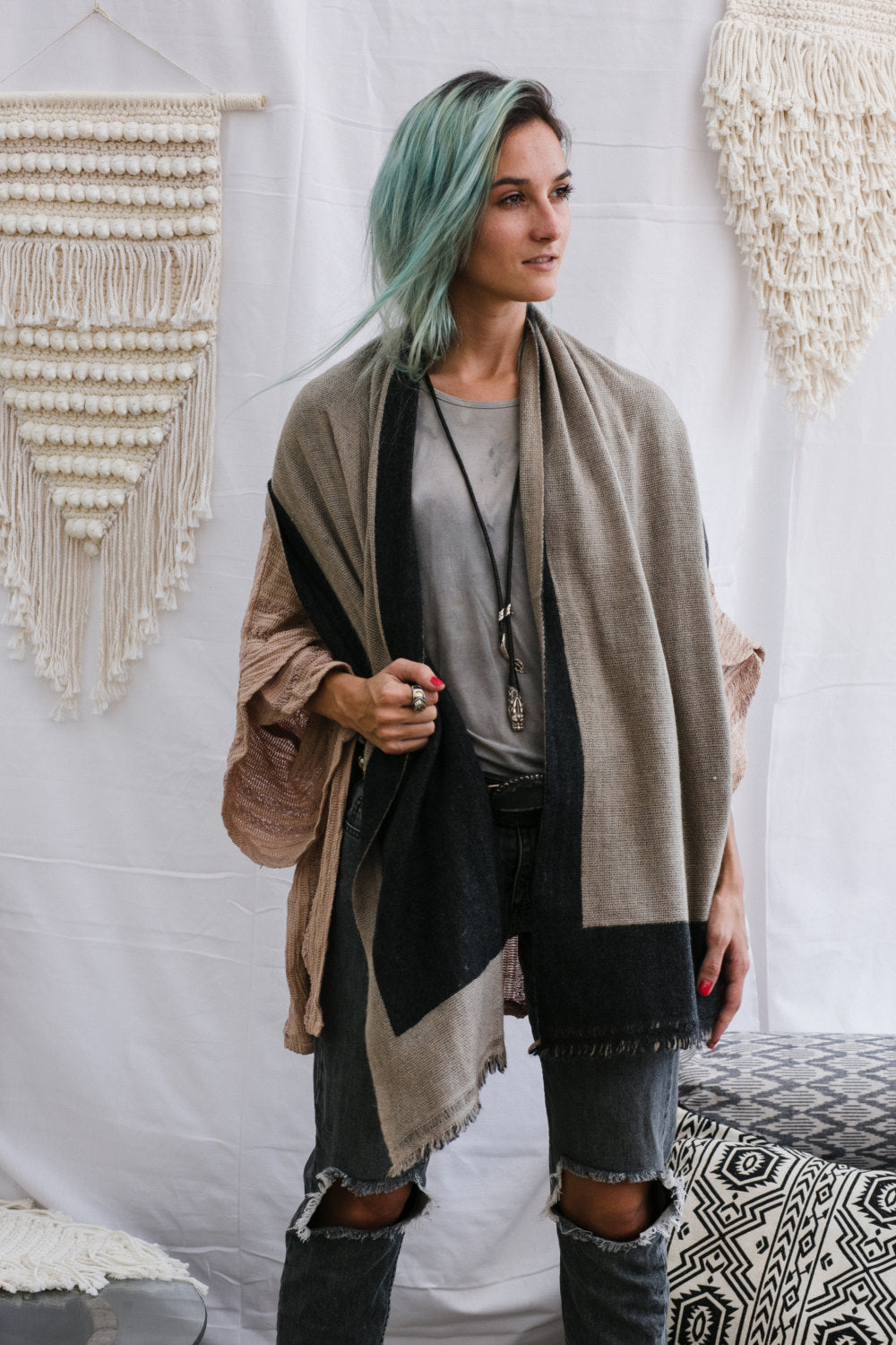 Dark Grey and Beige Reversible Pashmina Scarf