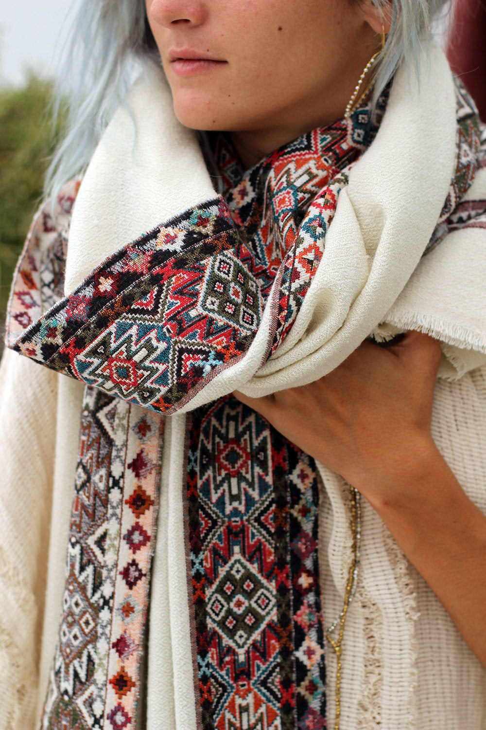 KULU SHAWL AZTEC OFF-WHITE
