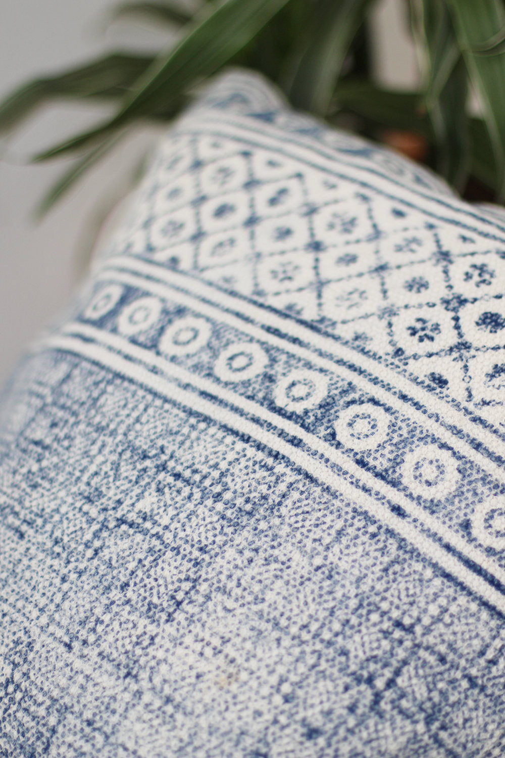 INDIGO BLOCK PRINT SQUARE DECORATIVE CUSHION COVER