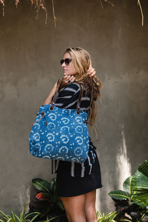 Indigo Blue Kantha and Leather Shoulder Tote Bag
