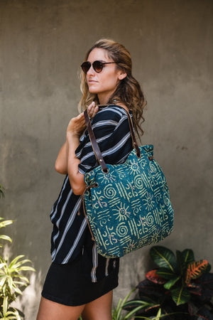 Shoulder Bag in Blue Vintage Fabric with Block Print