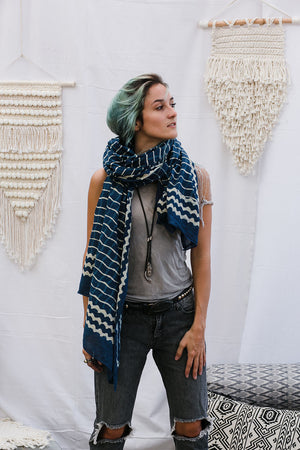 SHIRA SCARF CHECK INDIGO