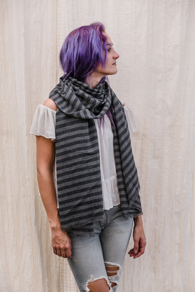 Grey Unisex Striped Scarf Shawl