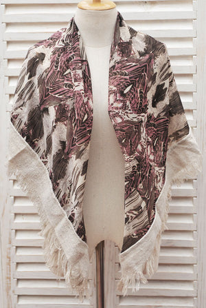 Pink and Beige Chiffon Boho Square Scarf