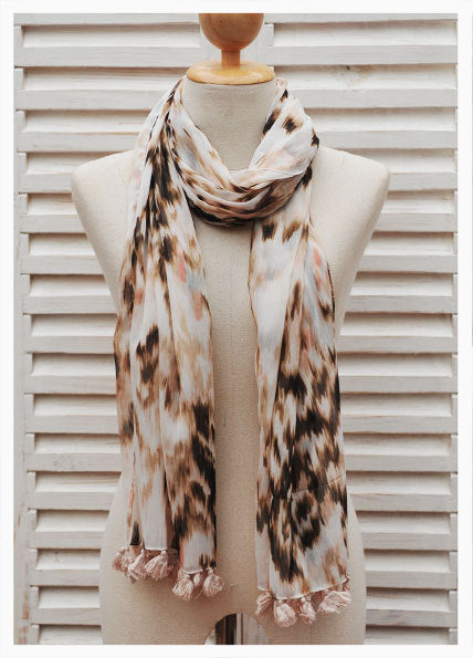 Nala Scarf Chiffon Narrow Pompoms Pink Brown