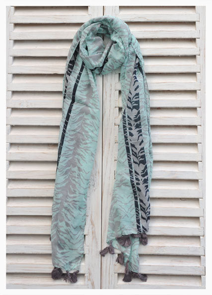 Turquoise Pareo Scarf with Pompoms