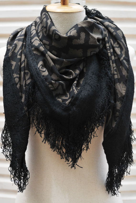 Olive Brown and Black Square Scarf with Tasseled Trim