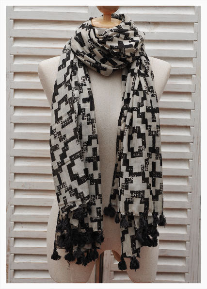 Large Rectangle Boho Printed Scarf with Pompoms
