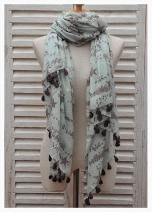 Large Pareo Scarf in Turquoise with Star Print