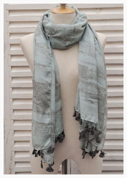 Turquoise and Beige Scarf with Pompoms
