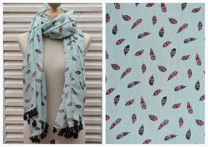 Turquoise Scarf with Feather Print and Handmade Pompoms