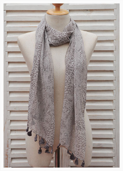 Narrow Long Bohemian Scarf with Pompoms