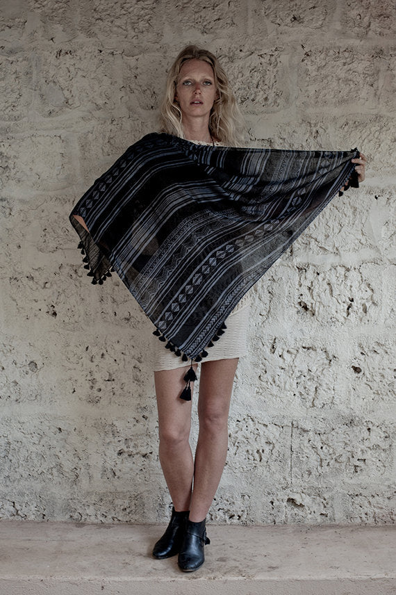 Arm Tattoo Tribal Modal Sqaure Scarf In Black and Grey