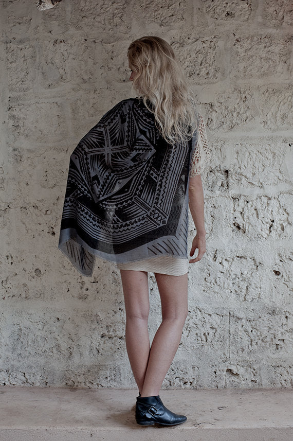 Back Tattoo Modal Scarf In Grey and Black