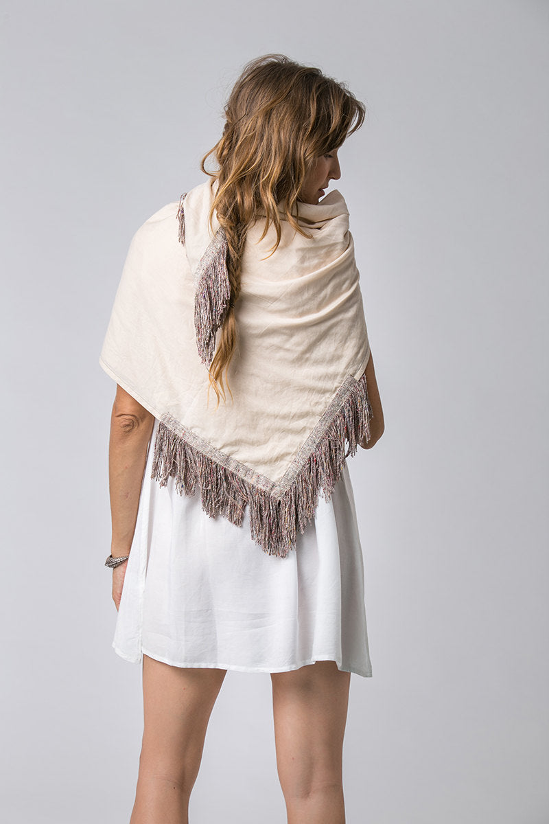 Silk and Cotton Bohemian Tasseled Scarf