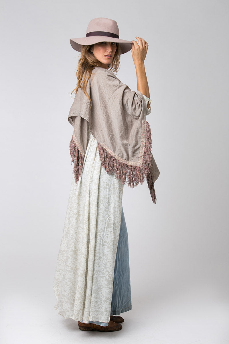 Silk and Cotton Square Scarf with Tassels