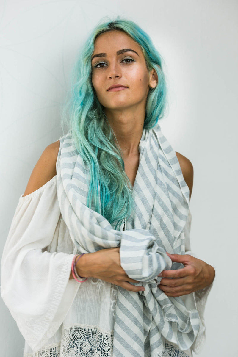 Light Grey Striped Unisex Scarf