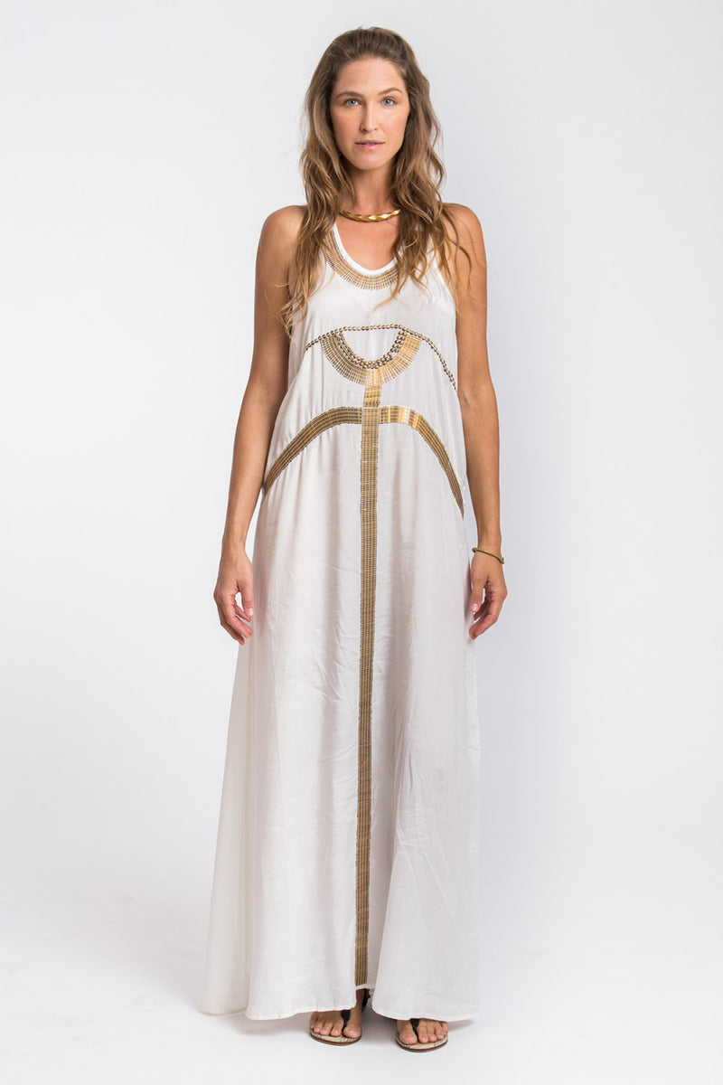 EGYPTIAN MAXI DRESS WHITE