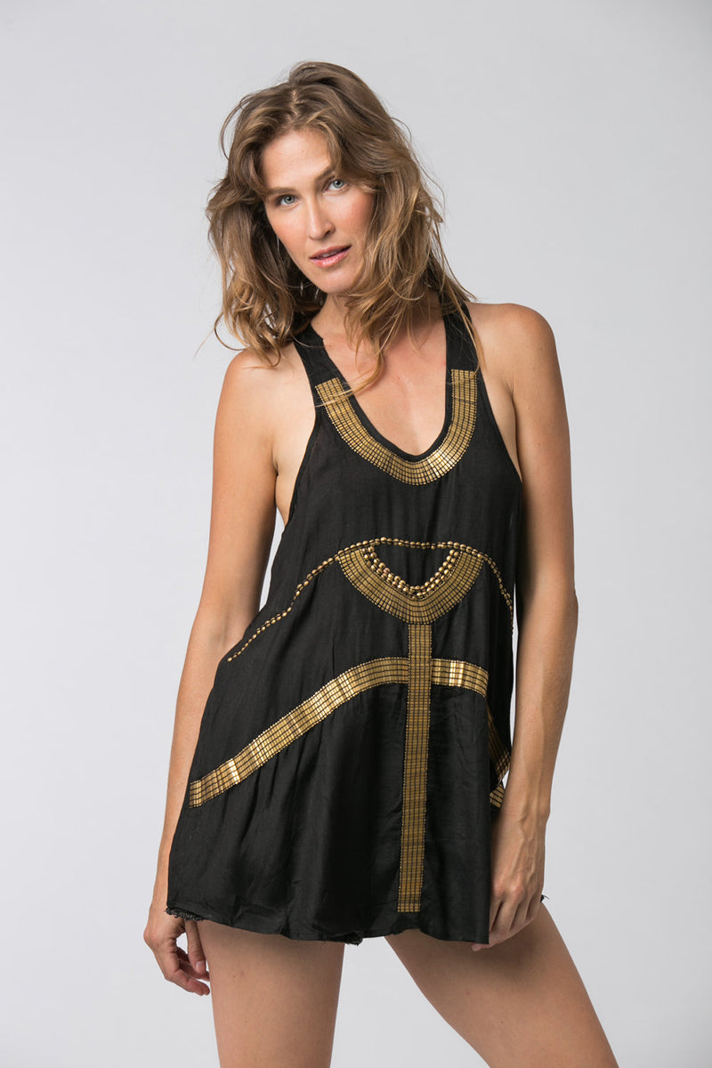 EGYPTIAN TUNIC TOP BLACK