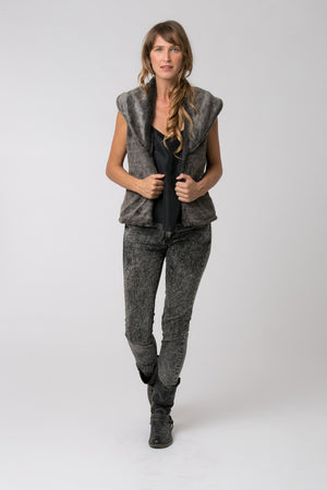 MITCHELL FAUX FUR VEST GREY