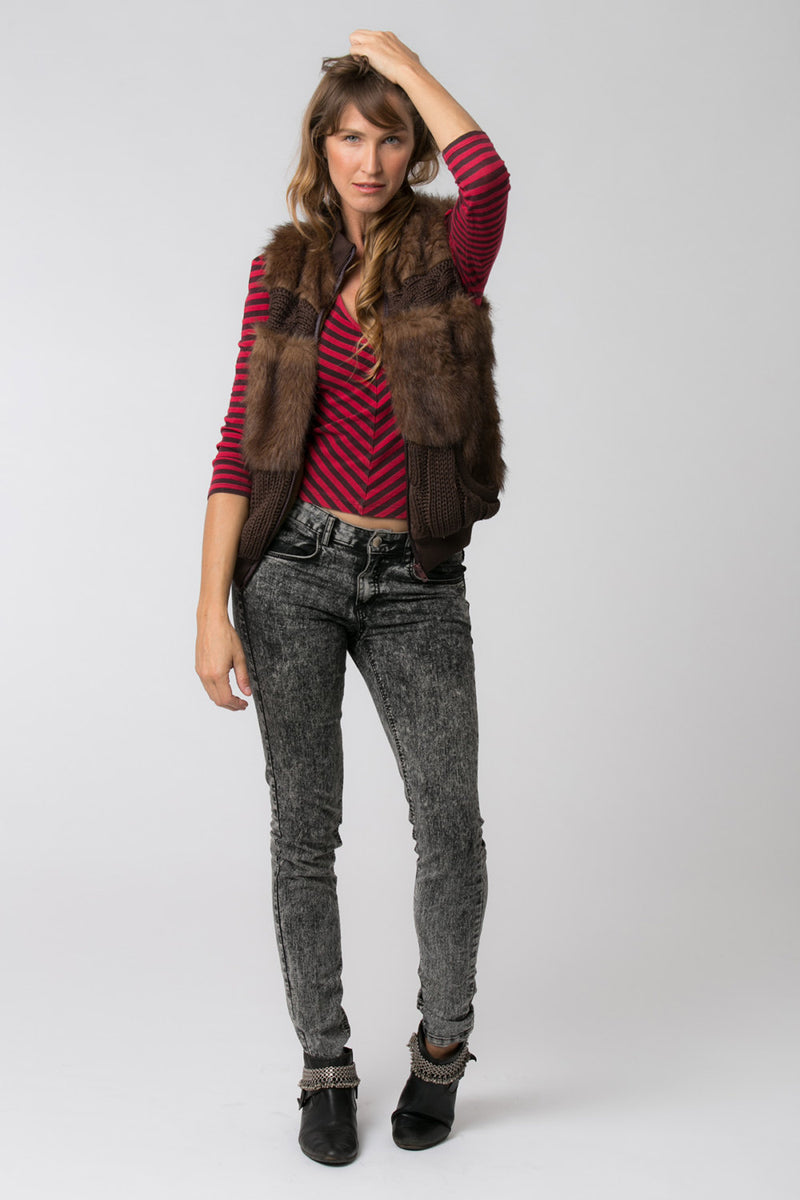 JONI FAUX FUR VEST BROWN