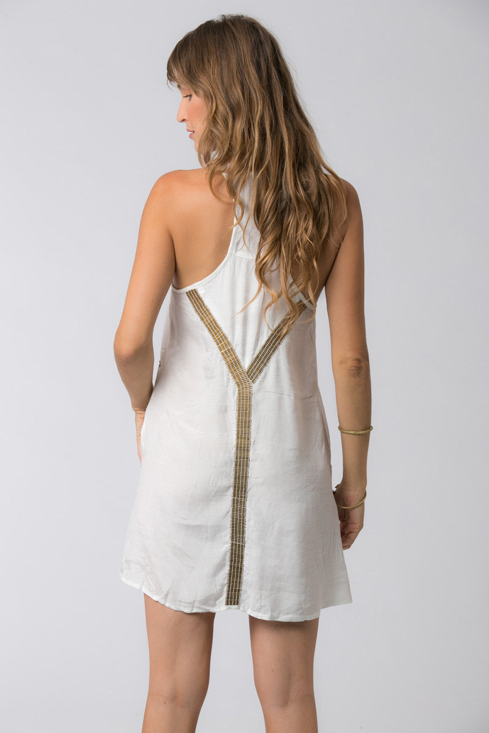 EGYPTIAN SHORT DRESS WHITE