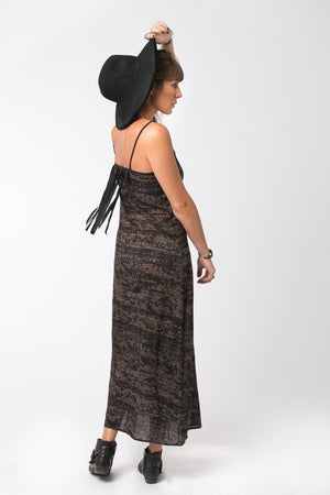LIA LONG DRESS BLACK AND BROWN