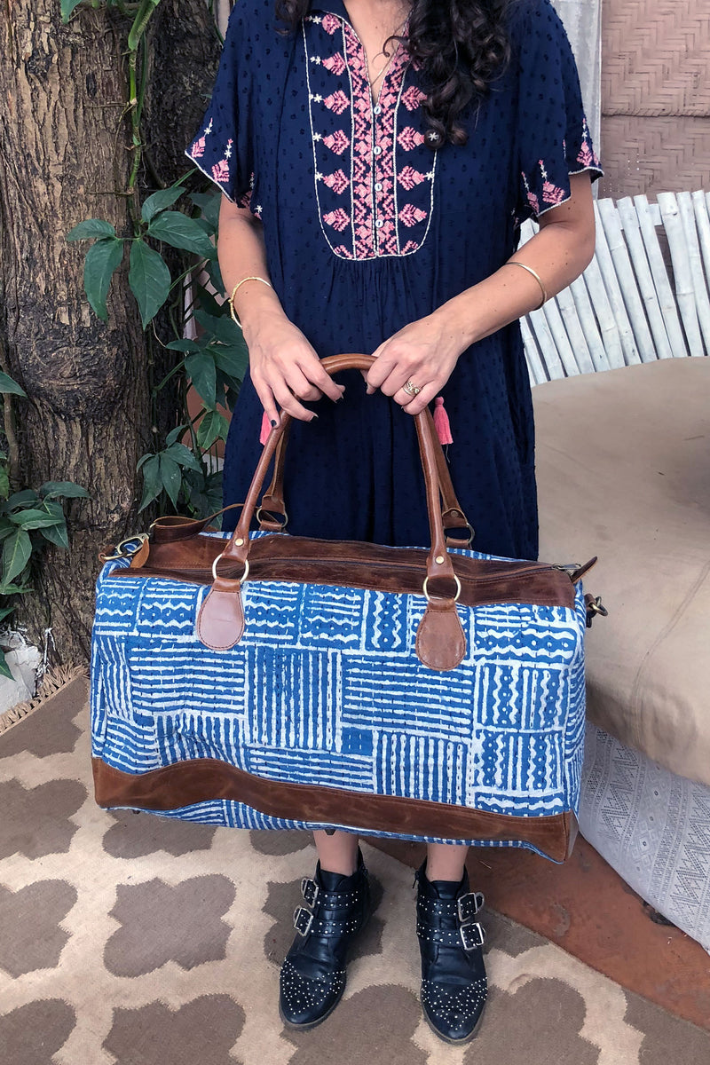 Indigo and White Weekender Unisex Bag