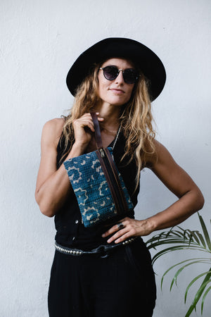 Indio Blue and Leather Clutch Bag for Women