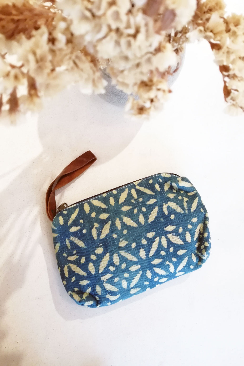 Clutch Wallet with Indigo and Off-White Block Print