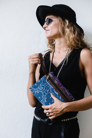 Indigo and Purple Kantha Wallet Bag