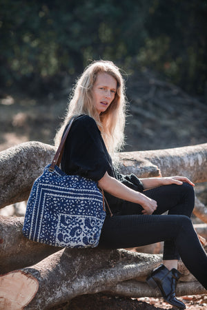 Indigo Blue and Off-White Shoulder Bag from Block Print Fabric