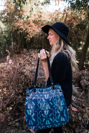 Indigo Tote Bag with Vintage Fabric and Leather