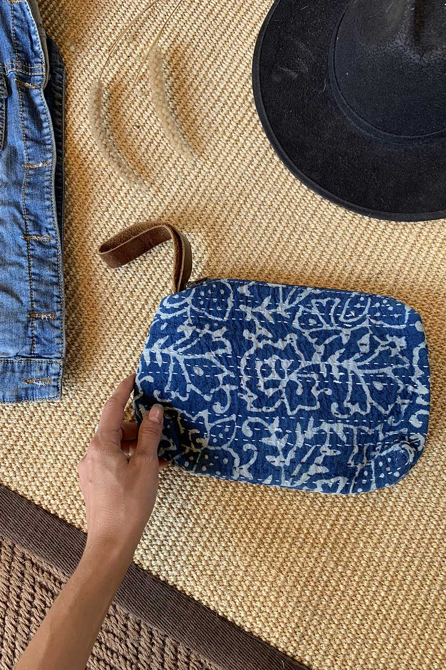 Indigo and Off-White Bohemian Clutch Bag