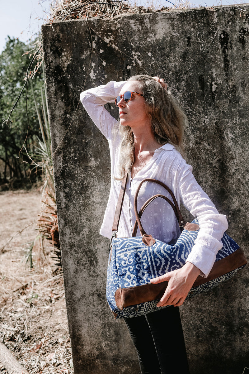 Indigo and Off-White Bohemian Travel Bag