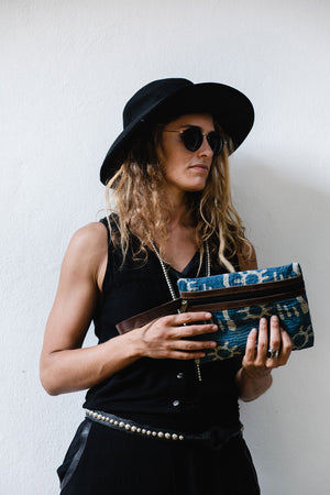 Indigo and White Boho Clutch Bag