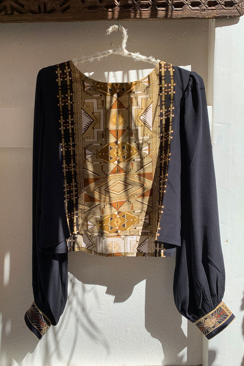 Iris Top Crepe Silk Black Boho Print