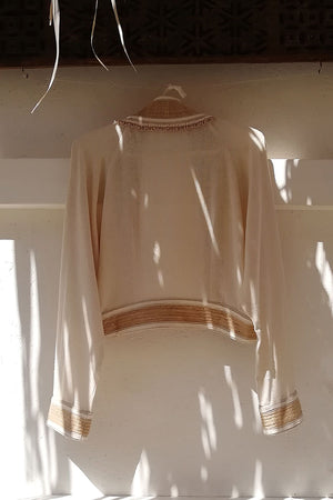 Meraki Jacket Raw Silk Ivory Hand Beaded