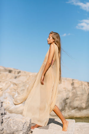 Jala Almond Silk Dress Luxury Resort Wear