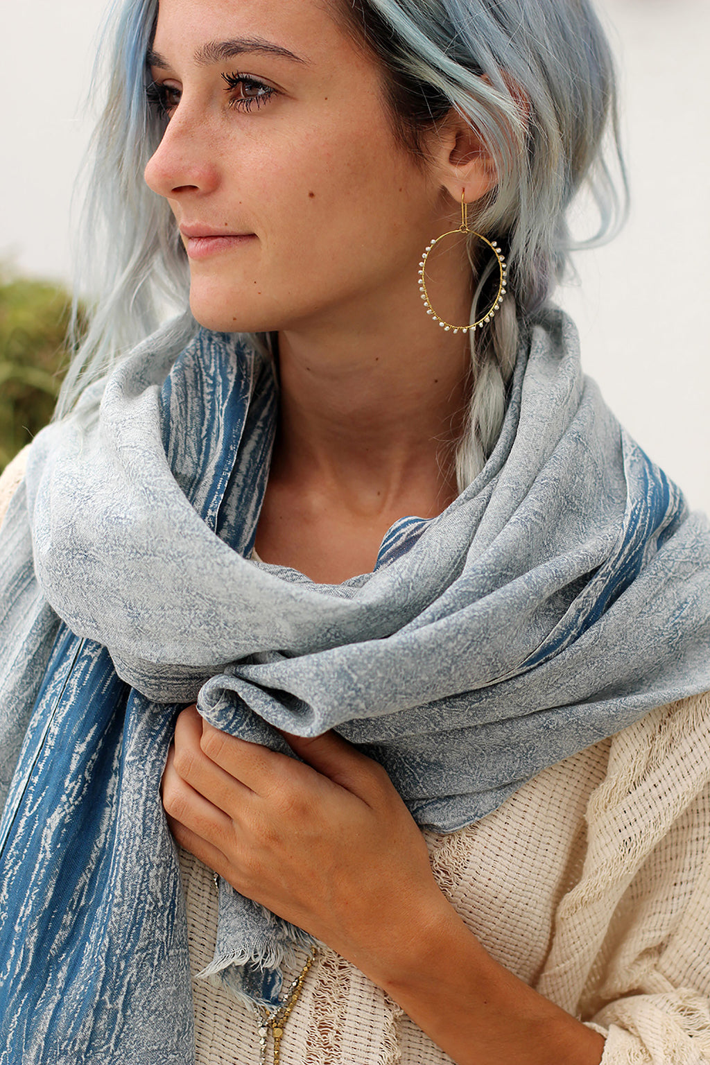 Jean Blue Stonewash Cotton Scarf
