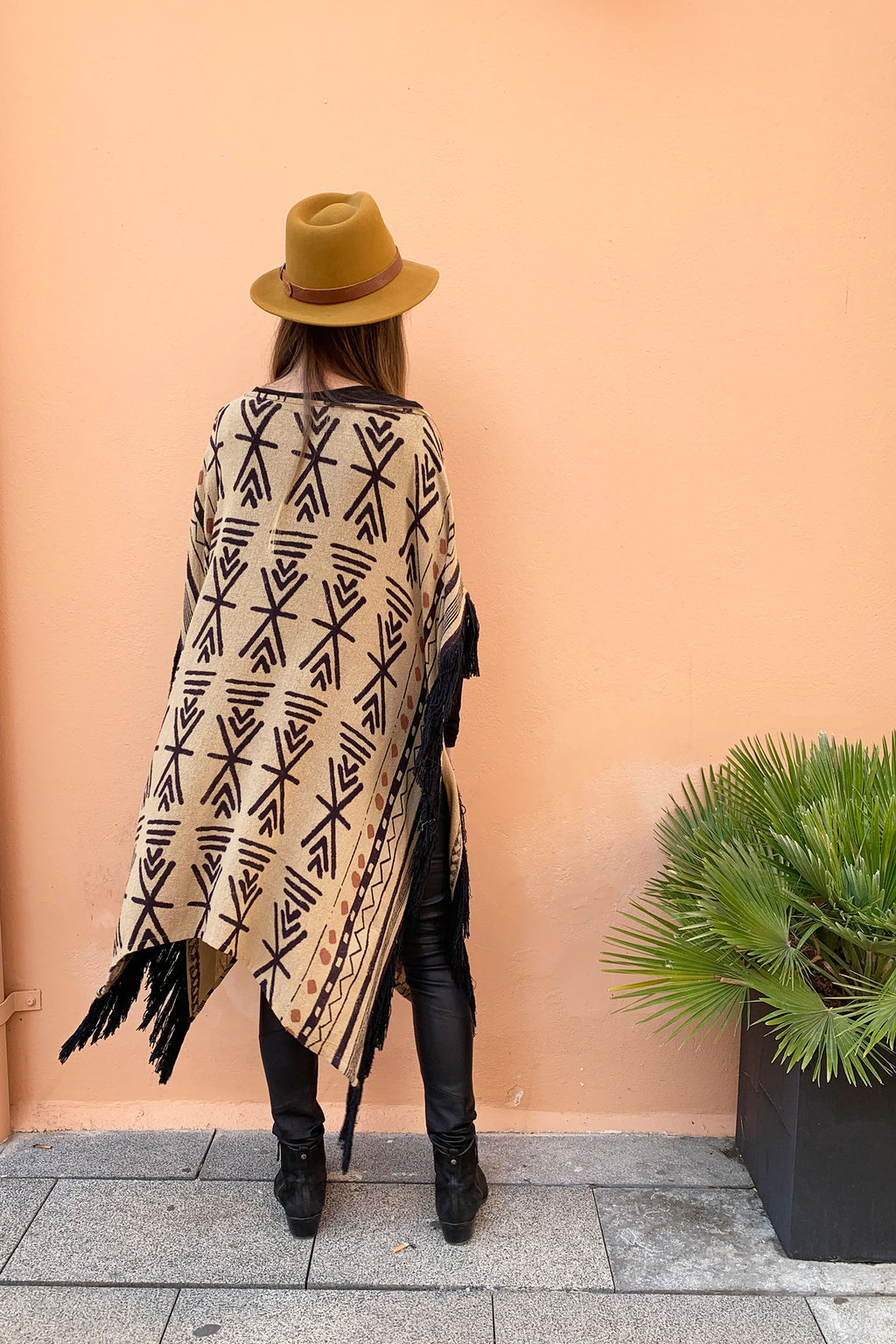 Jera Kaftan Dress Brown Black Africa Print Tribal Raw Silk Tassels